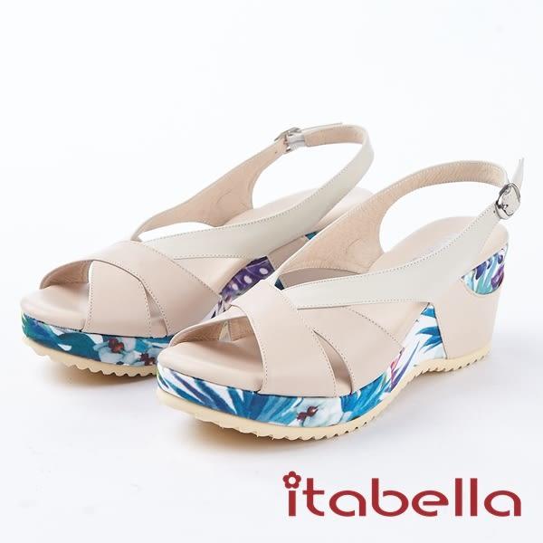 ★2018春夏新品★itabella.夏日清涼 造型拼接牛皮楔型涼鞋(8338-60粉)