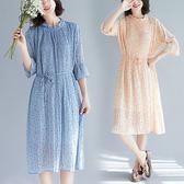 百褶雪紡點點文青風洋裝-中大尺碼 獨具衣格