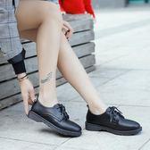 女牛津鞋 韓版女鞋子 女英倫春季新款平底加絨單鞋系帶學院風布洛克女鞋小皮鞋《小師妹》sm3555