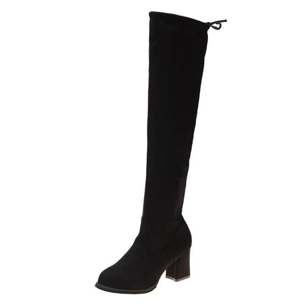 膝上靴 長靴女過膝粗跟瘦瘦靴2020秋冬季高跟長筒靴卡其色彈力靴軟皮女靴 薇薇