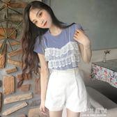 夏季韓版女裝新款蕾絲拼接假兩件上衣圓領短袖針織針織衫百搭T恤『小淇嚴選』