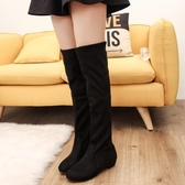 過漆靴 歐美過膝長靴低跟高筒顯瘦彈力布女靴套筒百搭長筒靴 鉅惠85折