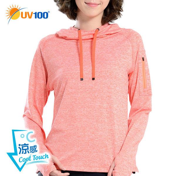 UV100 防曬 抗UV-涼感花紗彈性連帽運動上衣-女