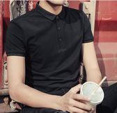 男士t恤有領襯衫領帶領短袖T夏季修身韓版潮流純棉青年翻領polo衫 東京衣櫃
