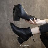 單款軟皮馬丁靴女英倫風方頭靴子女秋冬新款粗跟短靴中跟百搭 快速出貨