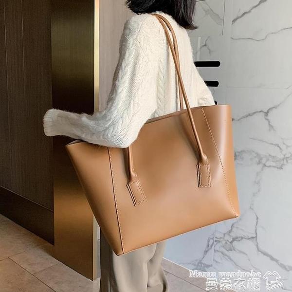 托特包 簡約女士側背大包包2021流行新款潮時尚網紅大容量百搭手提托特包 曼慕