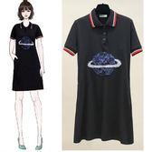 促銷價不退換POLO衫中長款休閒裙XL-5XL/33157夏裝新款大碼女裝胖mm寬松顯瘦時尚POLO領星球亮片T恤裙