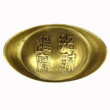 開光龍鳳 銅元寶(大號) 擺件 招財進寶 旺財