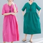 新品 夏季 新款 女裝短袖寬鬆文藝復古純色棉麻V領中長洋裝 連身裙 週年慶降價