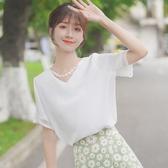 2020新款拼接蕾絲雪紡衫夏季仙女白色V領短袖襯衫洋氣上衣