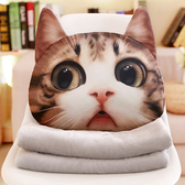 貓咪抱枕被子兩用靠墊辦公室沙發汽車靠枕折疊毯子午睡枕頭三合一