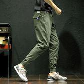 褲子  春夏季薄款褲子男韓版潮流運動休閒褲寬鬆小腳工裝九分哈倫褲長褲 芭蕾朵朵
