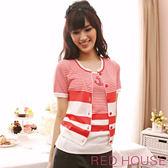 【RED HOUSE-蕾赫斯】橫條紋拼色短袖針織外套