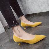 新款正韓細跟春單鞋中跟貓跟高跟鞋百搭尖頭女鞋職業ol工作鞋 【限時88折】