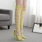 歐美新款高跟鞋 女性感夜店表演交叉綁帶細高跟羅馬涼鞋
