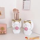 歐式可愛少女心化妝刷收納桶眼影刷筆筒桌面收納筒刷子桶【小獅子】