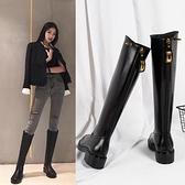 長靴 長筒靴女2020新款過膝小個子平底加絨高筒靴網紅小腿粗大筒圍騎士 風馳