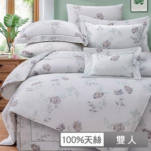 【貝兒】裸睡系列80支天絲四件式兩用被床包組(雙人/亞薇思)