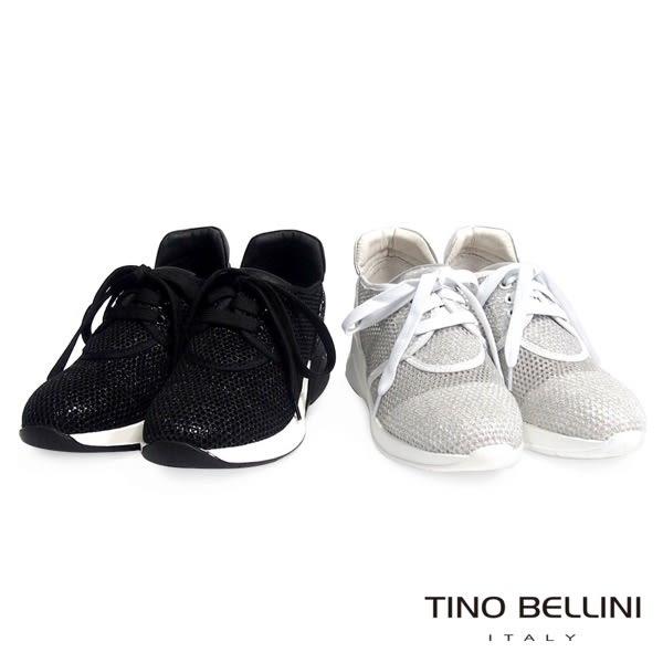 Tino Bellini 閃礫網狀運動時尚休閒鞋 _銀白 B63040A 2017SS