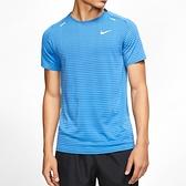 Nike Techknit Ultra 男 藍 條紋 休閒 運動 短袖上衣 CJ5345-402