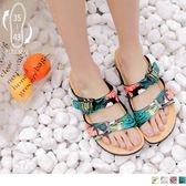 《SD0184》台灣製造~棕櫚葉/迷彩可調式真皮休閒拖鞋 OrangeBear