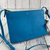 BRAND楓月 CELINE 天藍 TRIO 大款 171453 三層 經典 羊皮 斜背包 肩背包