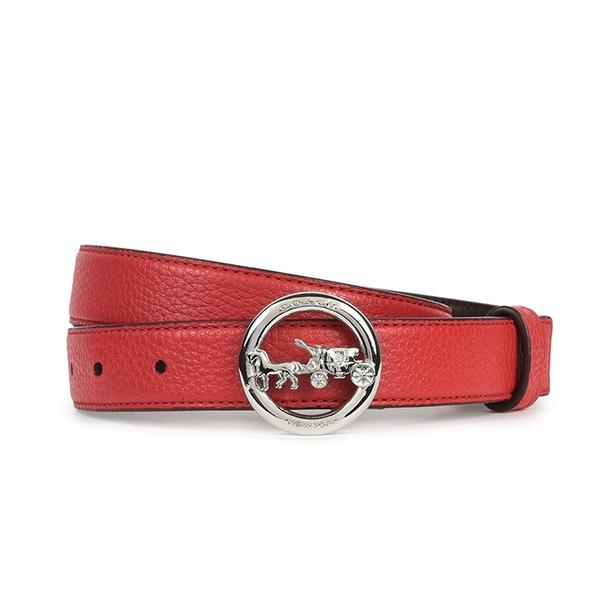 COACH 金屬馬車LOGO皮革窄版穿釦式皮帶(櫻桃紅)198433-3