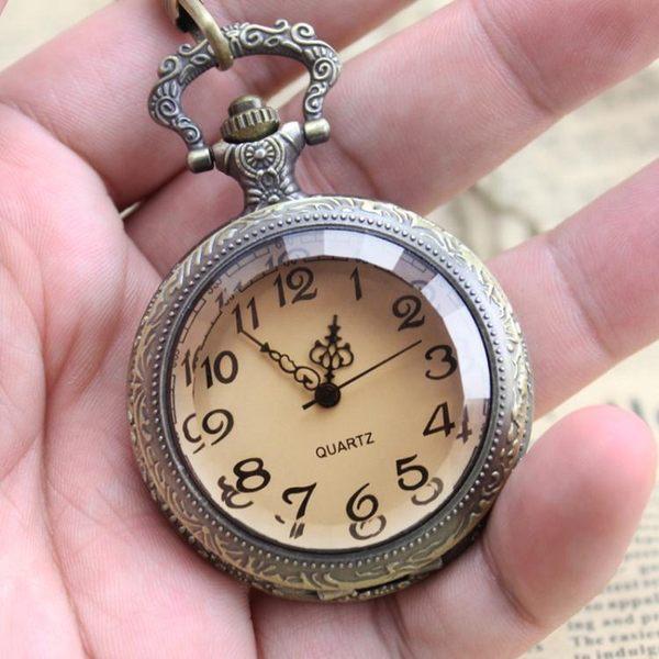 懷錶 復古茶色大表盤清晰大數字老人懷表翻蓋學生電子表考試用實用掛表【快速出貨免運八折】