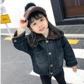 男童外套加絨新款寶寶秋冬季加厚羊羔絨洋氣兒童牛仔夾克