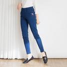 【中大尺碼】MIT口袋配繡羅紋牛仔褲...