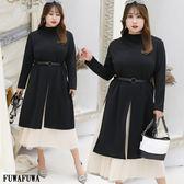 (現貨+預購FUWAFUWA)-加大尺碼OL知性風兩件式長袖洋裝