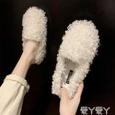 加絨豆豆鞋豆豆鞋女韓版加絨棉鞋瓢女鞋秋冬季外穿一腳蹬毛毛鞋 新品