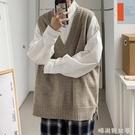 慵懶風毛衣背心男韓版潮流個性無袖v領針織衫寬鬆ins港風馬甲外套「時尚彩紅屋」