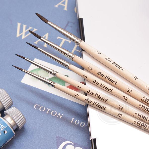『ART小舖』da Vinci 德國達芬奇 學生級 32 原木桿動物混合毛水彩筆 7號 單支