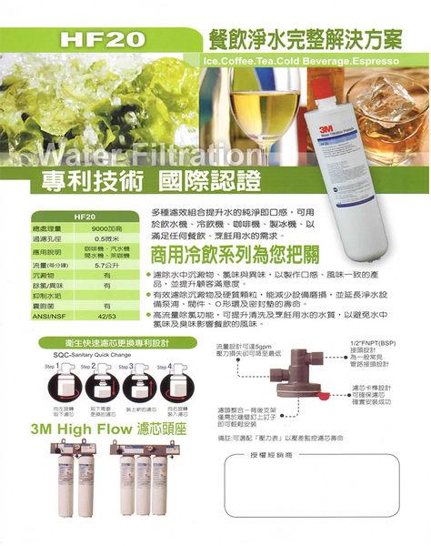 【 天耀淨水】HF-20 高流量長效型商用營業用生飲淨水器 可過濾34000公升【0.5微米】】