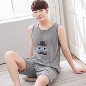2019夏季韓睡衣男背心短褲青少年無袖加肥加大碼薄卡通套裝家居服