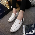 豆豆鞋男 夏季豆豆鞋透氣男鞋子男士休閒皮鞋男韓版潮流一腳蹬套腳懶人鞋黑 Cocoa