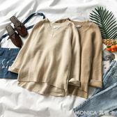 秋裝女裝韓版文藝長袖純色V領女簡潔寬鬆毛衣針織衫潮 莫妮卡小屋