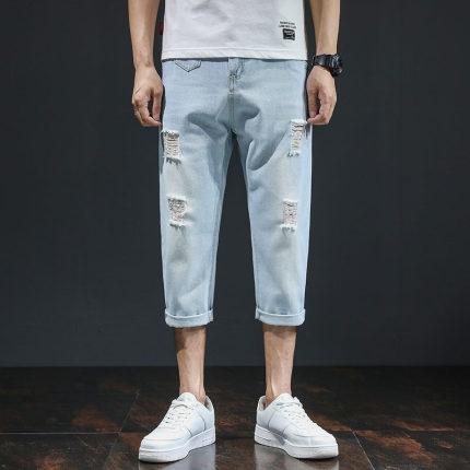 七分牛仔褲男破洞2021年夏季新款韓版潮流褲子寬鬆直筒日系休閒褲 夢幻小鎮「快速出貨」