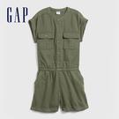 Gap女童 工裝風格圓領短袖連身褲 578394-軍綠色
