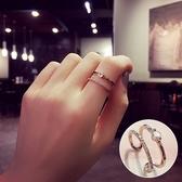 【NiNi Me 】韓系戒指氣質甜美微鑲鋯石水鑽雙層開口式戒指戒指F0020
