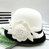 禮帽 秋冬帽子女圓頂小禮帽英倫復古黑白花朵小香風毛呢氈帽休閒漁夫帽【免運】