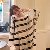 冰絲透膚配條防曬罩衫長版上衣-大尺碼 獨具衣格