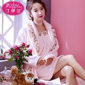 蘭睡袍吊帶睡裙兩件套睡衣家居服女秋冬長袖加厚法蘭絨珊瑚絨 Mt8081『Pink領袖衣社』