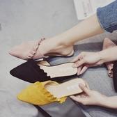 拖鞋女外穿 新款 花邊半拖鞋韓版尖頭一字 拖鞋學生平底穆勒鞋 聖誕裝飾8折
