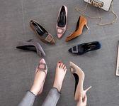 歐美秋季尖頭細跟女鞋網紅單鞋水鉆方扣高跟鞋紅色婚鞋黑色工作鞋  初見居家