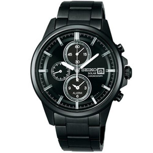 SEIKO SPIRIT 太陽能三眼計時鬧鈴腕錶-黑鋼 (V172-0AA0K)