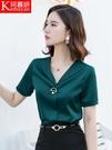 雪紡職業襯衫女2020新款短袖夏季氣質上衣洋氣真絲V領襯衣工作服 陽光好物