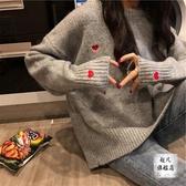 情侶T 網紅女士毛衣新款春秋韓版bf慵懶風套頭長袖針織衫上衣情侶裝-快速出貨
