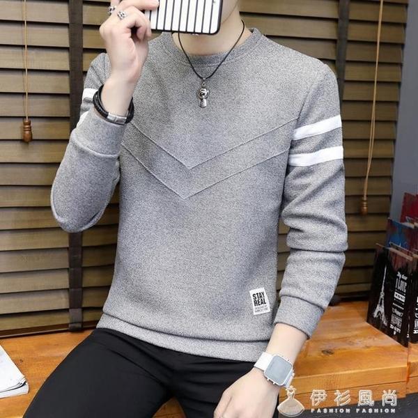 秋冬季新款男士毛衣加絨加厚圓領套頭線衫長袖男裝針織打底衫 伊衫風尚